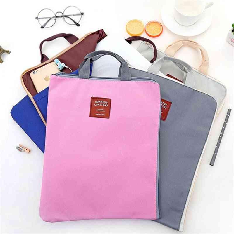 Men, Women's, Multi-function Portable Zipper Briefcase Pouch Handbag, For Documents, Files