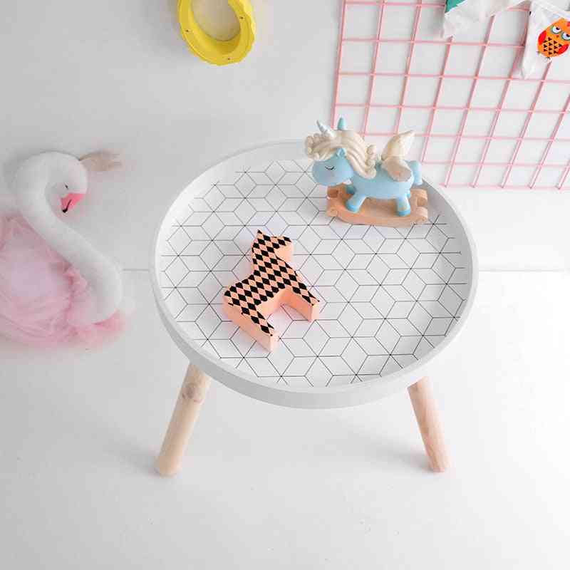 Nordic Style Play Desk, Modern Round Wooden Storage Side Table
