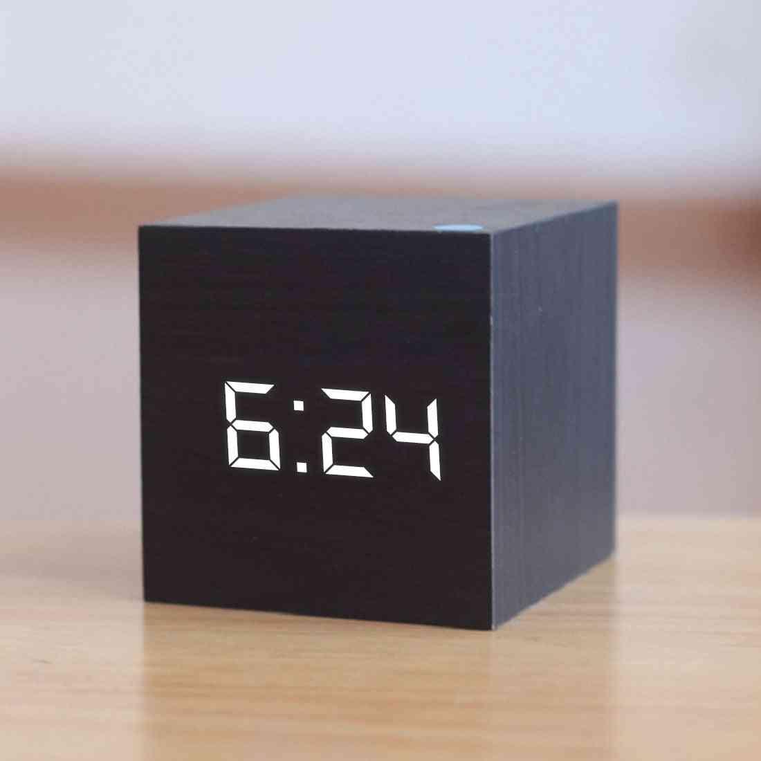 Digital Wooden, Led Alarm Glow Clock, Desktop Table, Voice Control Desk Tools