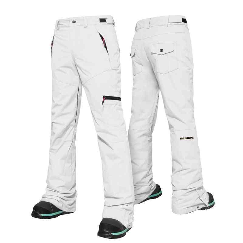 Women Warm Ski Pants, Double Snow Protection Leg, Opening Thick Winter Trouser