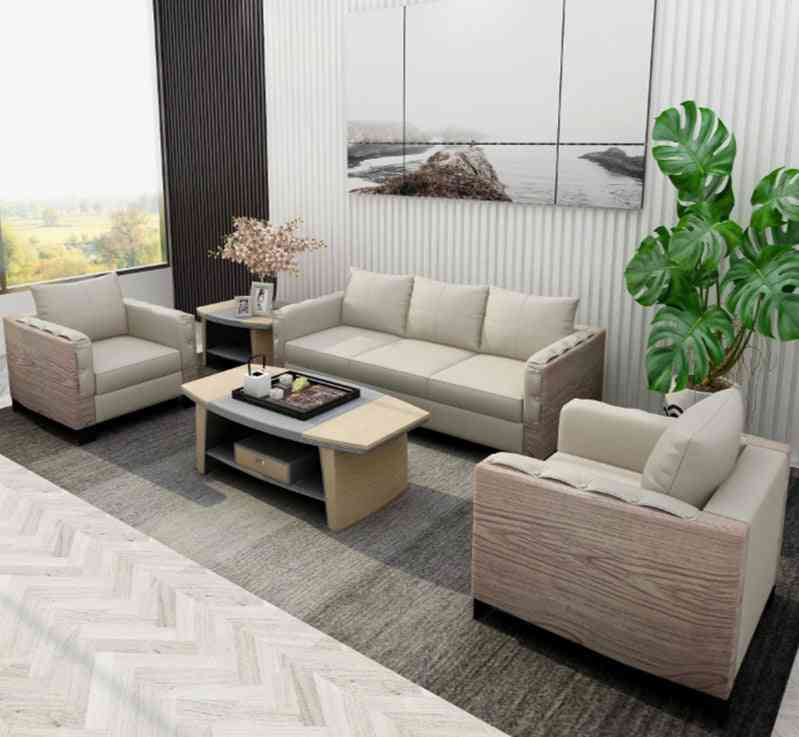Elegant Modern Leather Seating Big Sofa, Wood Coffee Table For Office, Home