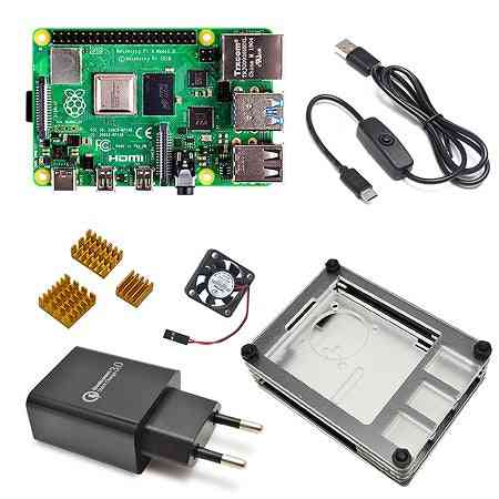 Pi-4 Model Board With Power Switch Line, Type-c Charger, Adapter & Heatsink
