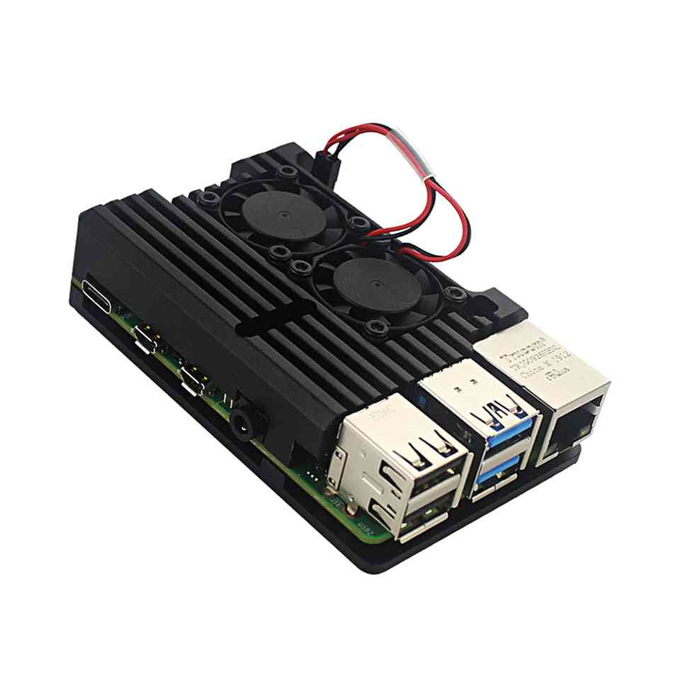 Raspberry Pi-4 4b, Aluminum Metal Case With Dual Cooling Fan