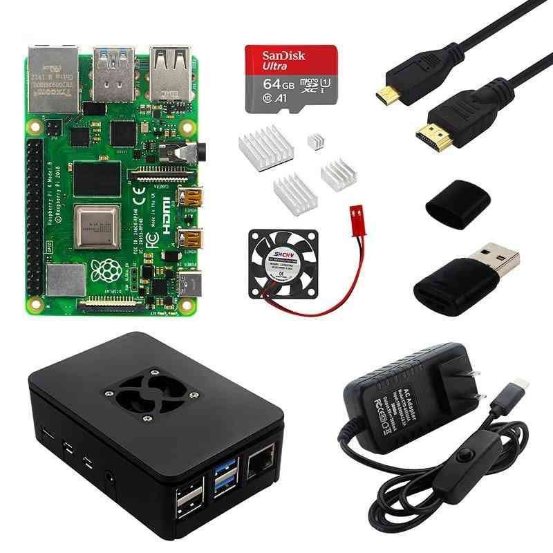 Raspberry Pi-4,  Aluminum Case + Power Adapter, Sd Card, Micro Cable