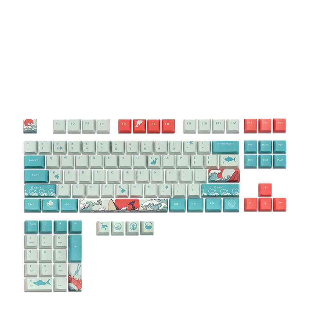108 Key Ahegao Oem Pbt Keycaps, Dye Sublimation Japanese Ukiyo-e Anime Keycap