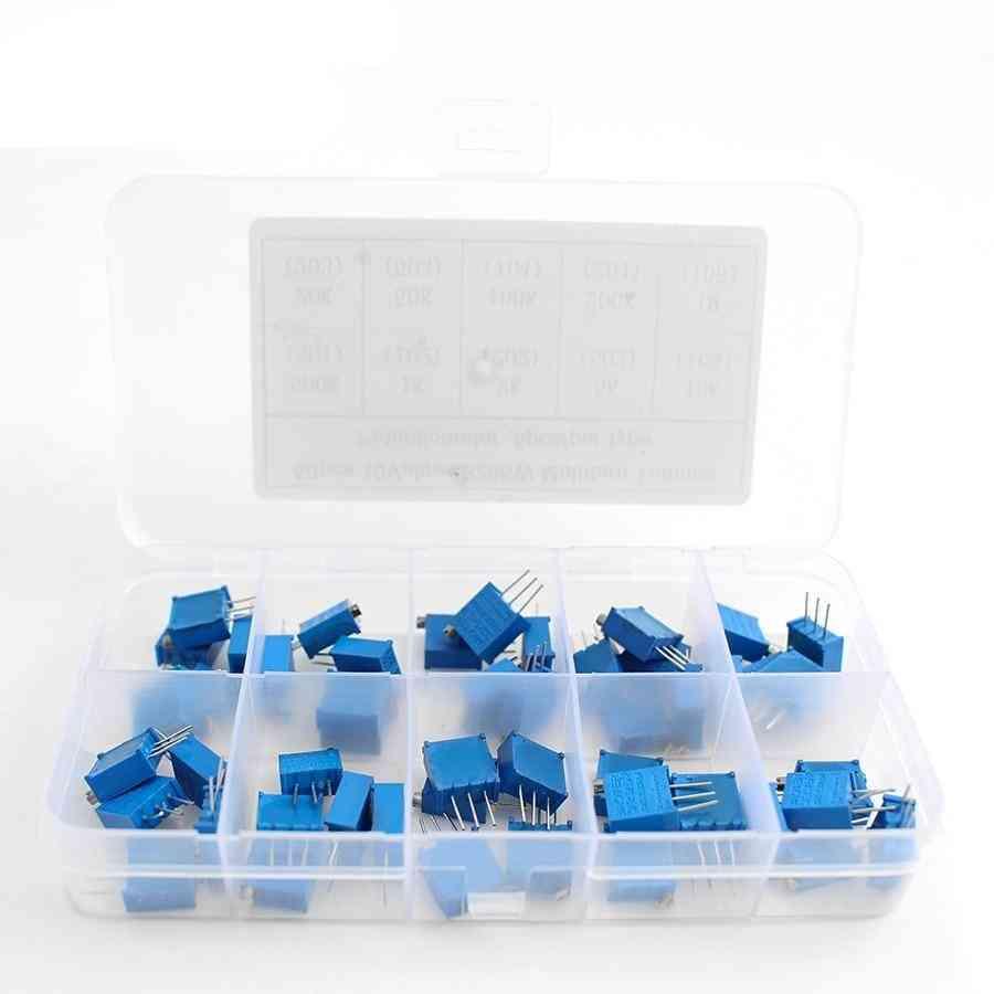 3296w Series- 500r Multi-turn Potentiometer, Variable Resistors With Box Set