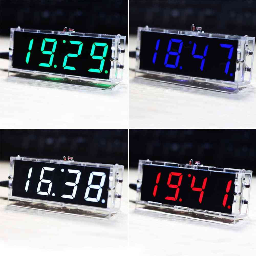 Date Time Display With Transparent Case, Stylish Diy Digital Led Clock Kit