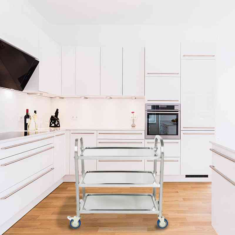 Three-layer Dining, Stainless Steel Household, Portable Wheeled Tea Trolley