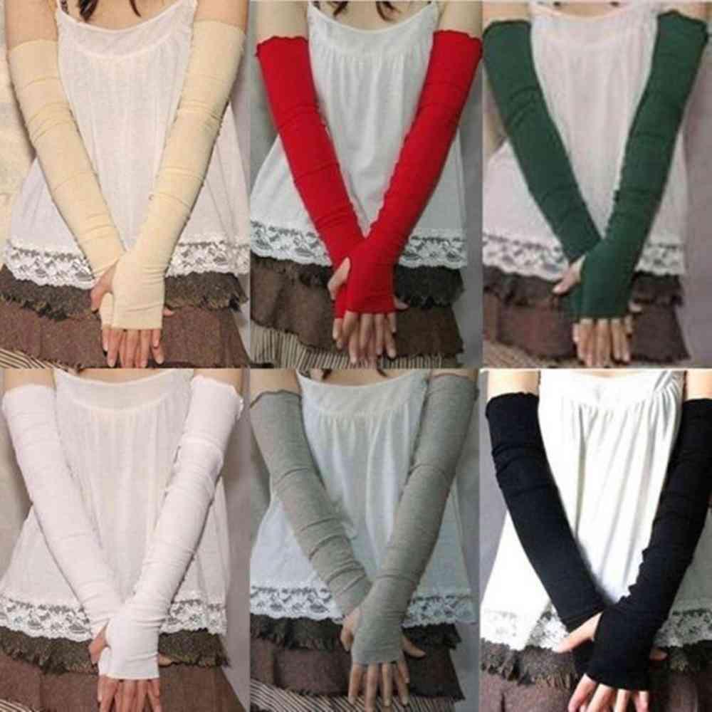 Cotton Uv Protection Arm Warmer, Summer Long Fingerless Gloves