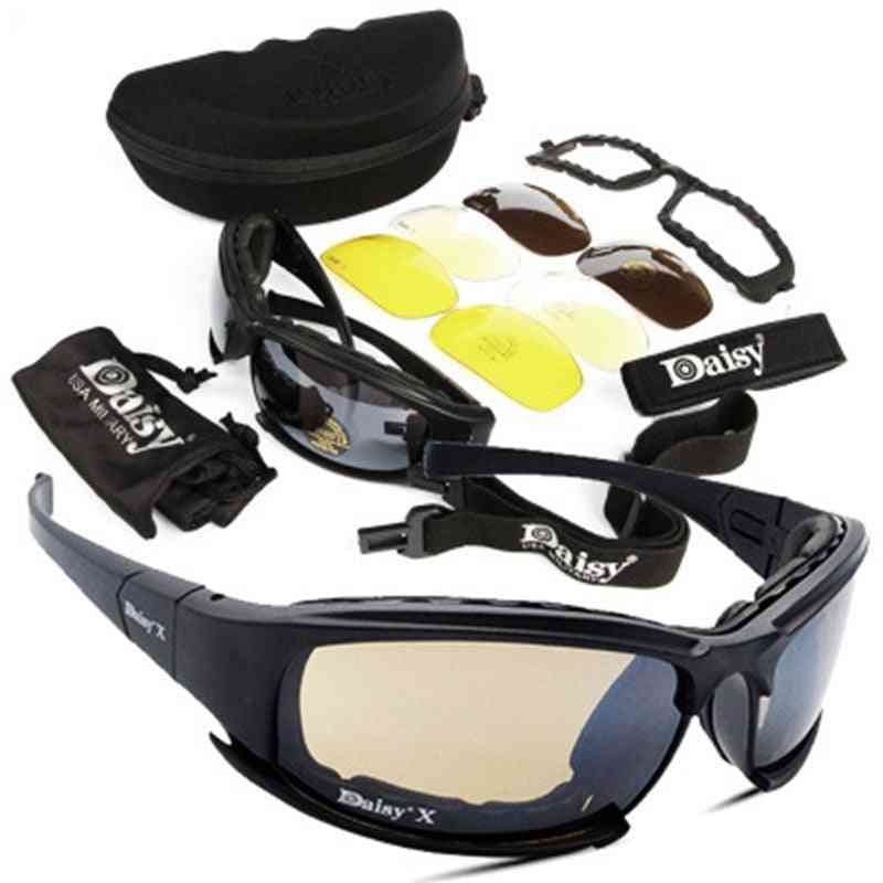 Tactical Polarized- Military Goggles With 4 Lens Shooting, Eyewear Sunglasses