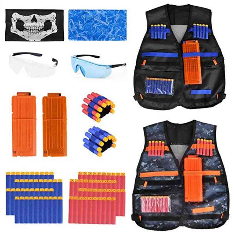 Tactical Vest Kit With Refill Darts, Pouch, Reload Clip, Mask & Wrist Band Set