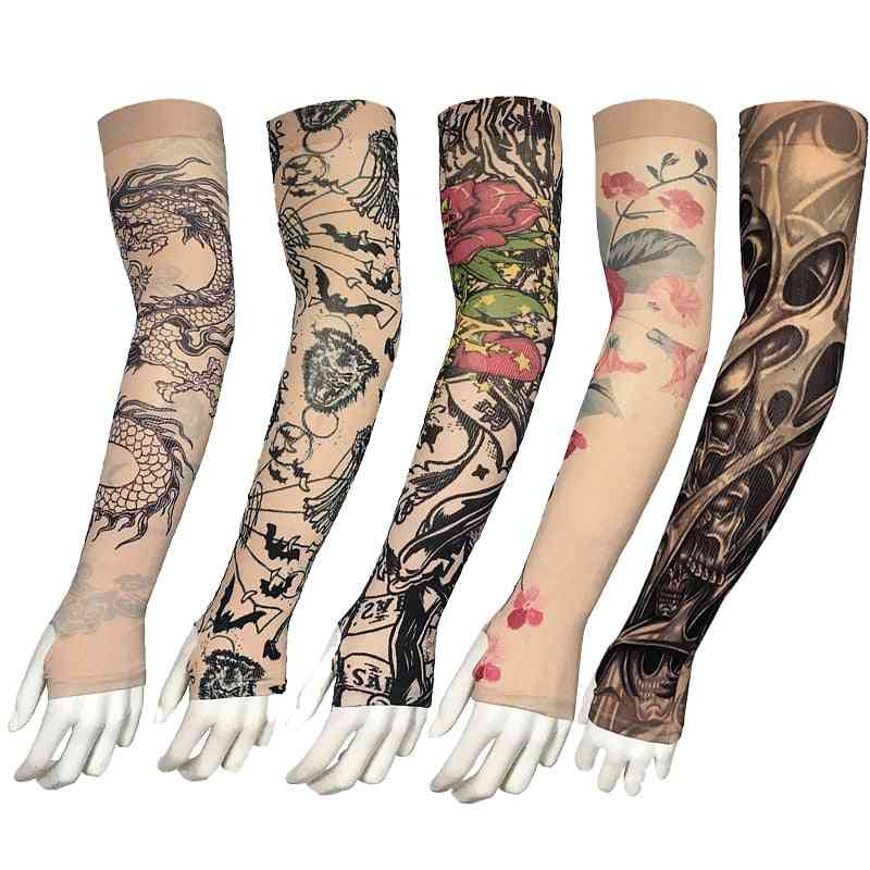 Fake Tattoo, Arm Sleeves, Dragon Design Cooler Cycling, Outdoor Driving