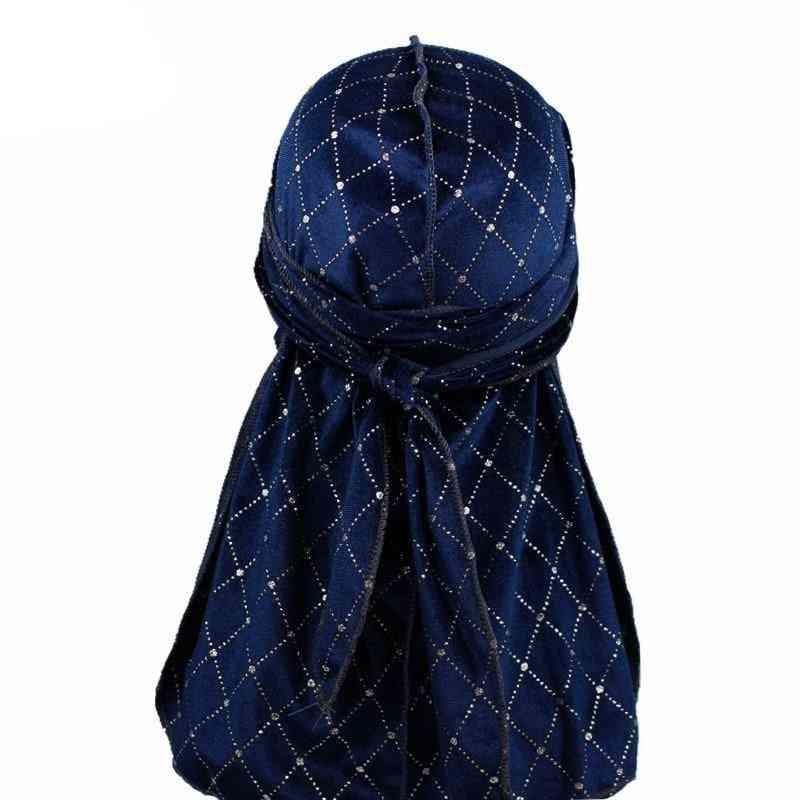 Shiny Velvet, Turban Hat Bandanas, Headwear Striped, Waves Caps, Hair Accessories