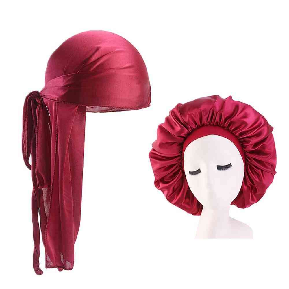 Durags And Bonnets Sets, Men Long Tail Silky Durag/extra Big Bonnet For Couple
