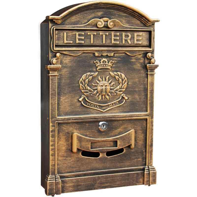 Heavy Aluminium Lockable Secure Mail Letter Retro Post Box / Mailbox