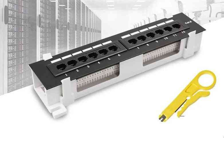Network Tool Kit, 12 Port Cat6 Patch Panel Rj45 Networking Wall Mount Rack