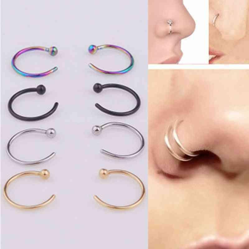 Fake Piercing Titanium Nose Ring Body Jewelry Accessories
