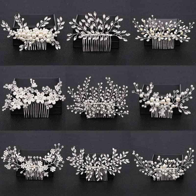 Pearl Crystal, Hair Combs, Bridal Flower, Headpiece Accessories