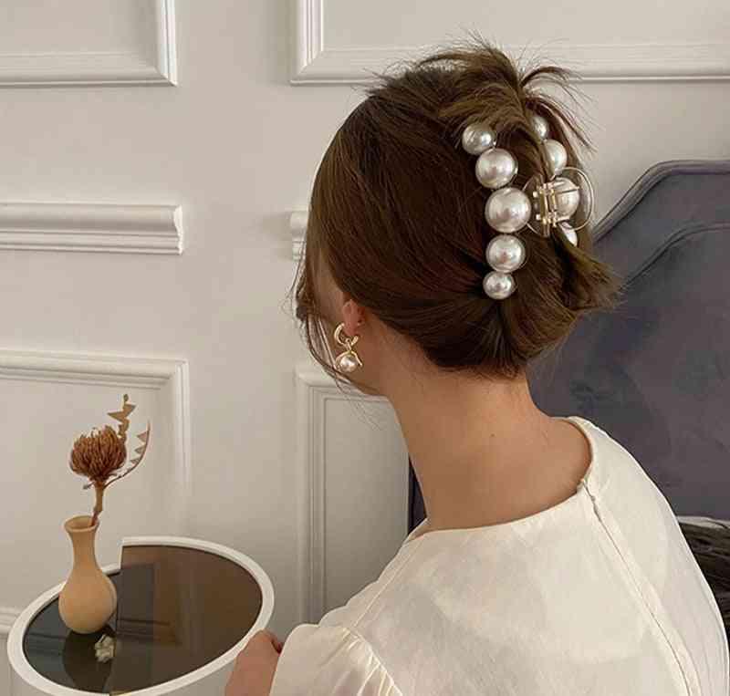 New Hyperbole Big Pearls Acrylic Hair Claw Clips