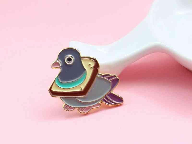 Cute Bird Bread, Metal Enamel Pin, Wheat Delicious, Slice Collar, Cartoon Badge