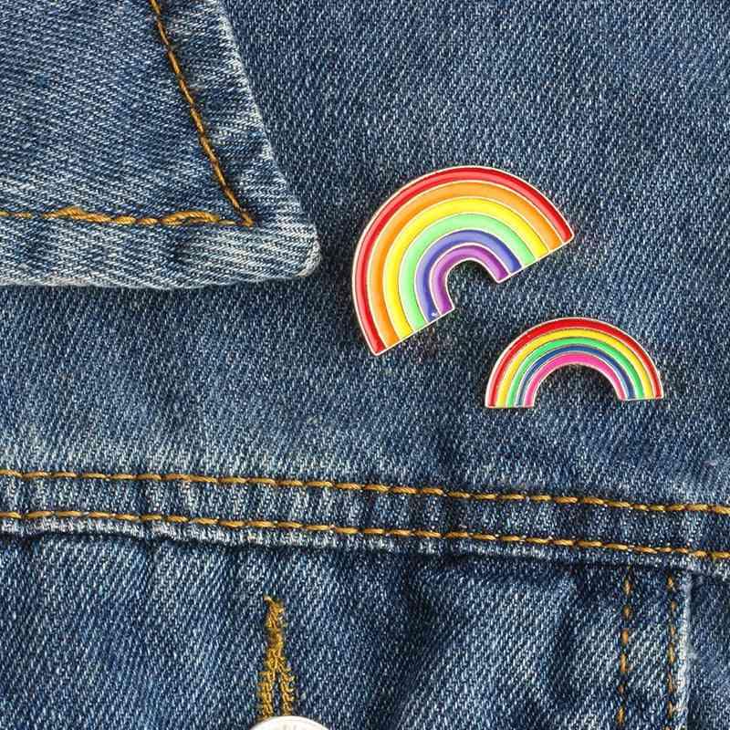 Colorful Enamel- Rainbow Metal Brooch, Denim Badge Pin