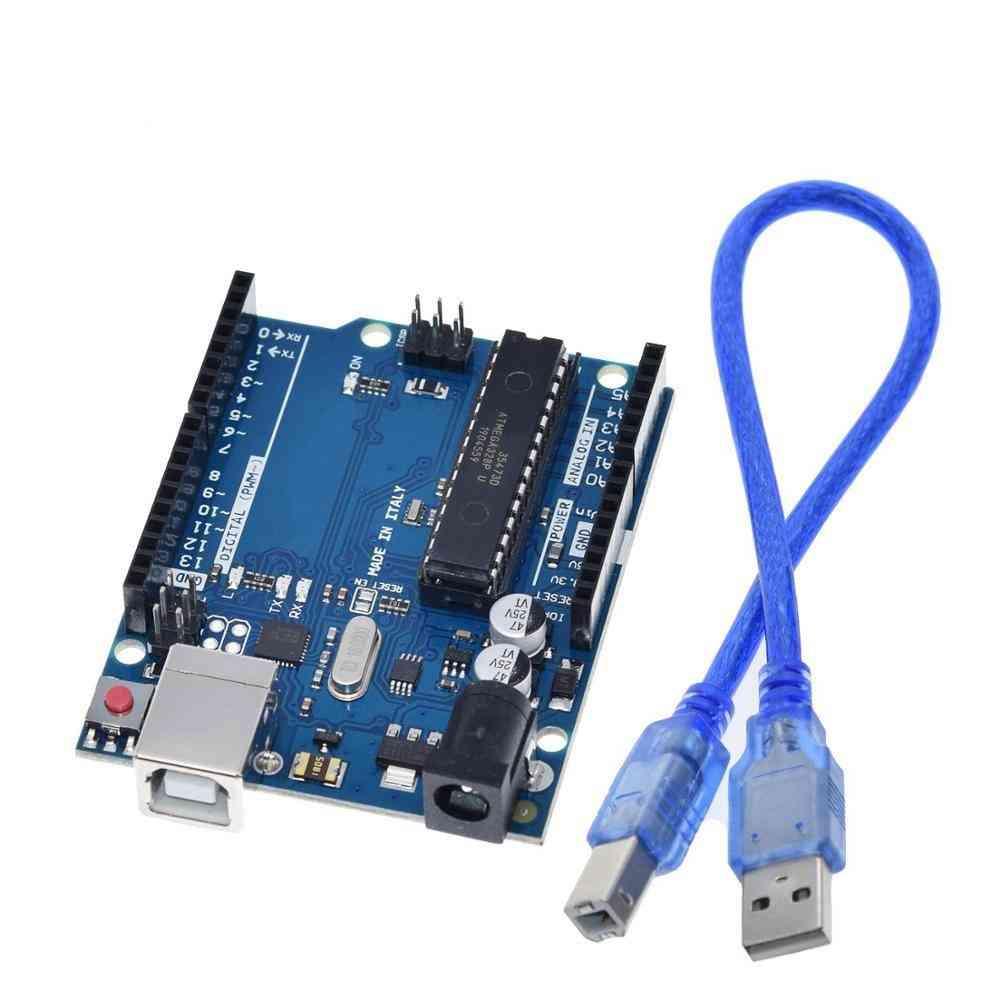 Uno R3 Box- Atmega16u2 & Mega328p Chip For Arduino Development Board + Usb Cable
