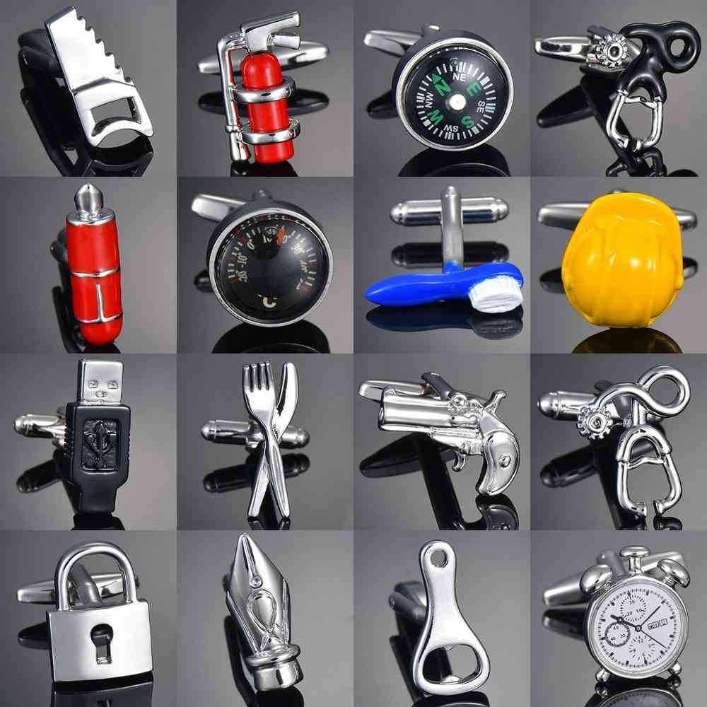 Sandhour Cufflinks, Safety Hat Fire, Extinguisher Hammer, Alarm Clock Shirts's
