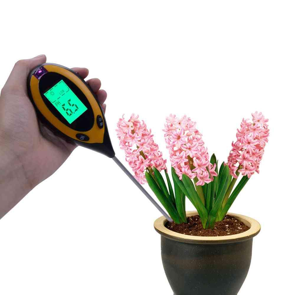 4-in-1 Digital Ph, Soil Moisture, Monitor Meter, Temperature Intensity, Measurement Tool