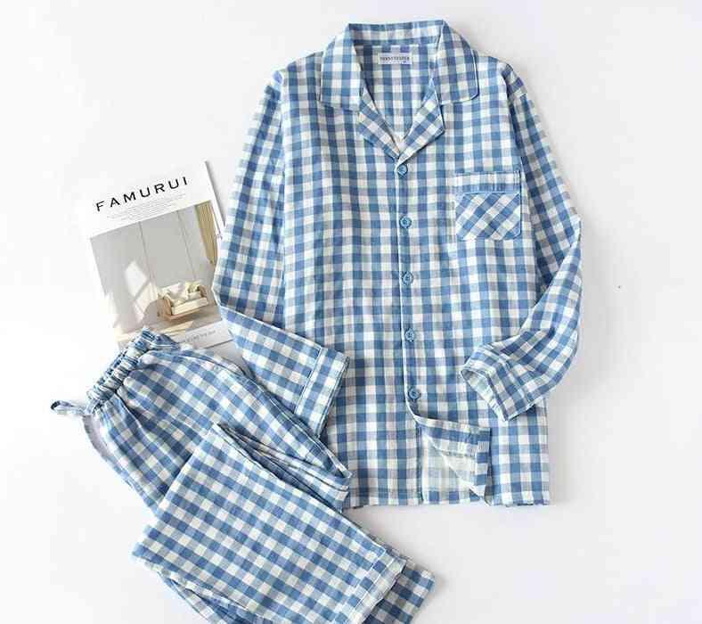 Men And Women Long Sleeves Pajamas Plaid Leisure Shirt Sleepwear Set