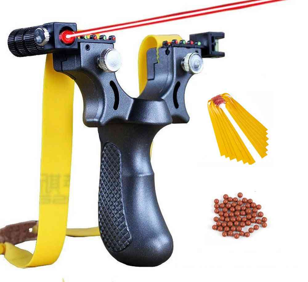 Infrared Aiming Slingshot With Flat Rubber Band And Marbles, Hunting, Shoot
