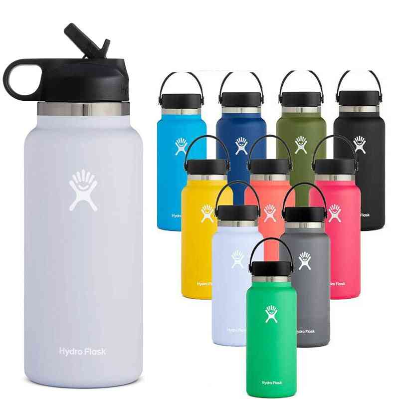 Stainless Steel- Vacuum Insulated, Hydro Water Bottle Flask, Wide Mouth With Straw Lid