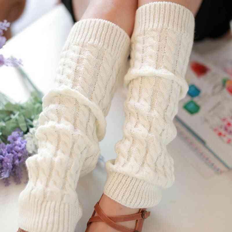 Women Winter Warm, Twist Solid Knitted Crochet Leg Warmers