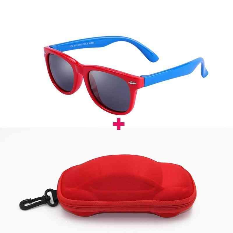 Polarized Silicone Frame Sun-glasses With Car Case Eyewear For &