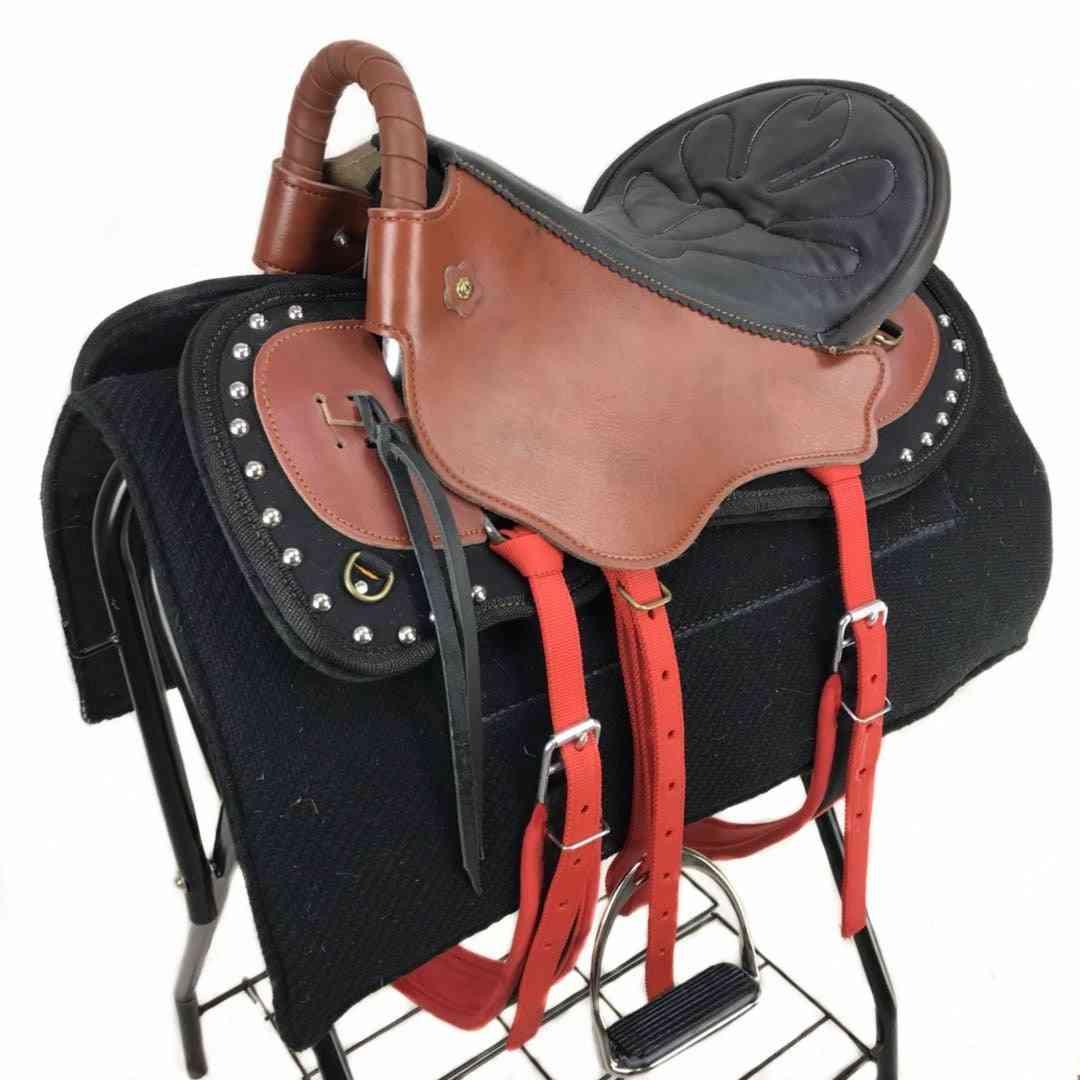 Horse Harness, Cowhide Tourist Saddle, Adjustable Buckle