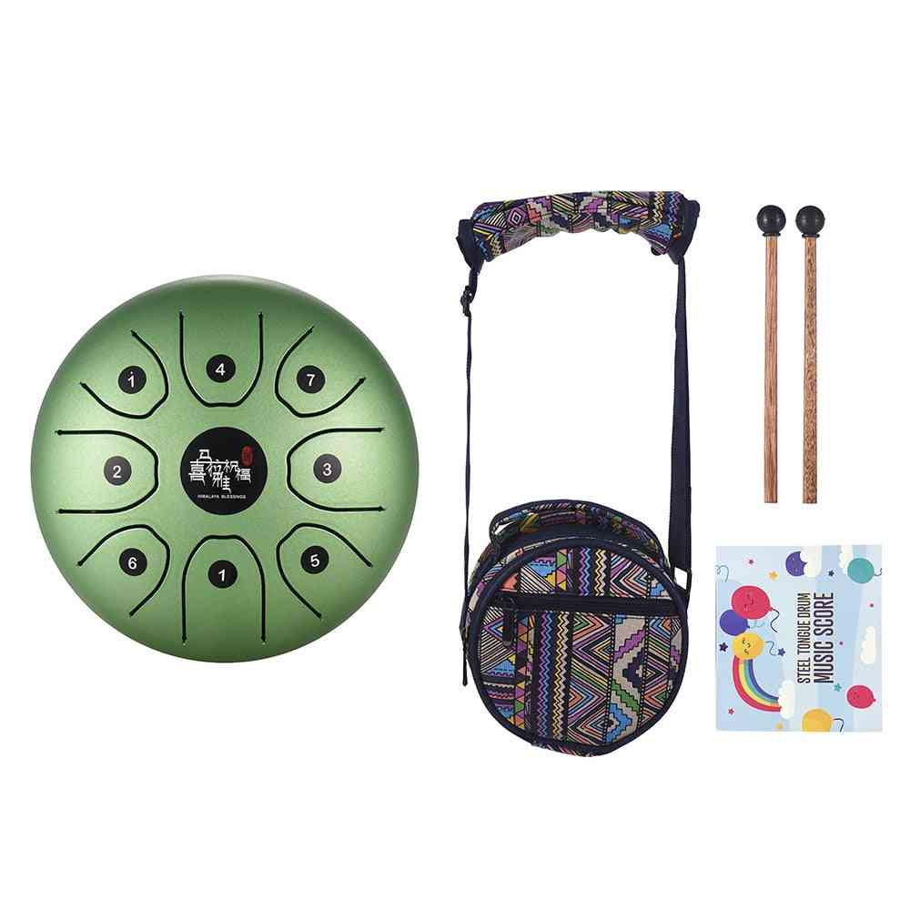 Mini Steel Tongue Drum, 8-tone C Tune Handpan Drums With Drum-mallets Carry Bag