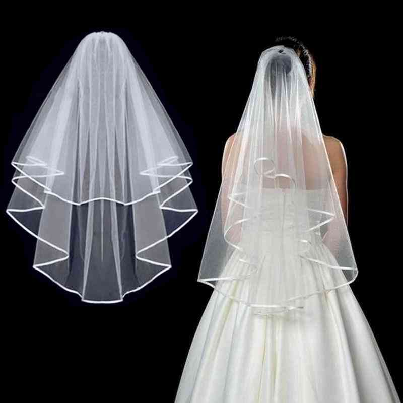 Simple Tulle, Two-layers Bridal Veil, Ribbon Edge With Comb