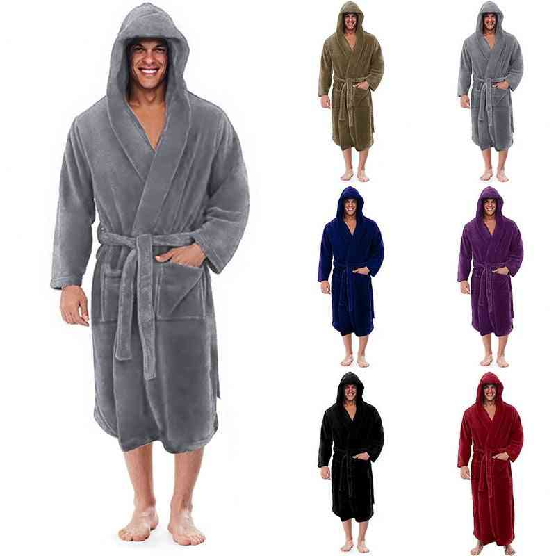 Winter Flannel Hooded Thick Lengthened Terry Bathrobe Nightgown Set-1