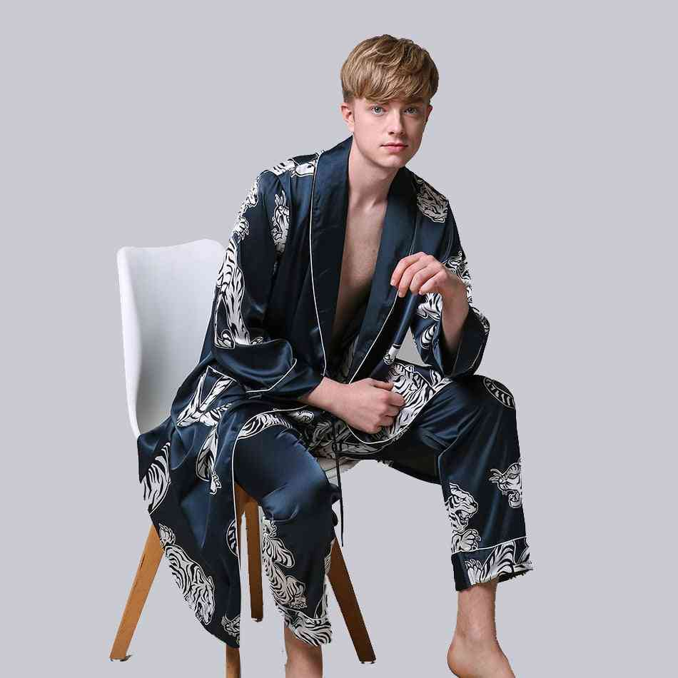 Men's Two-pieces Silk Nightgown Satin,  Bathrobe Set