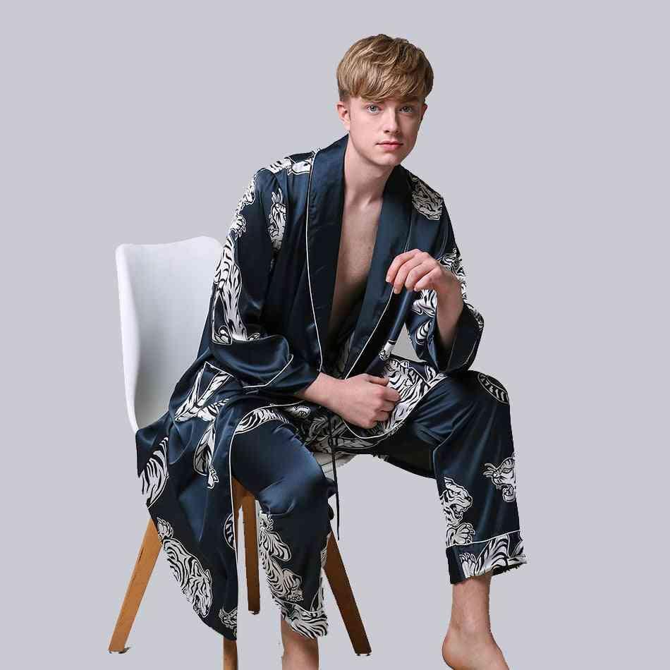 Two-pieces Silk Satin, Long-sleeve Robe & Long Pants, Bathrobe Set Set-1