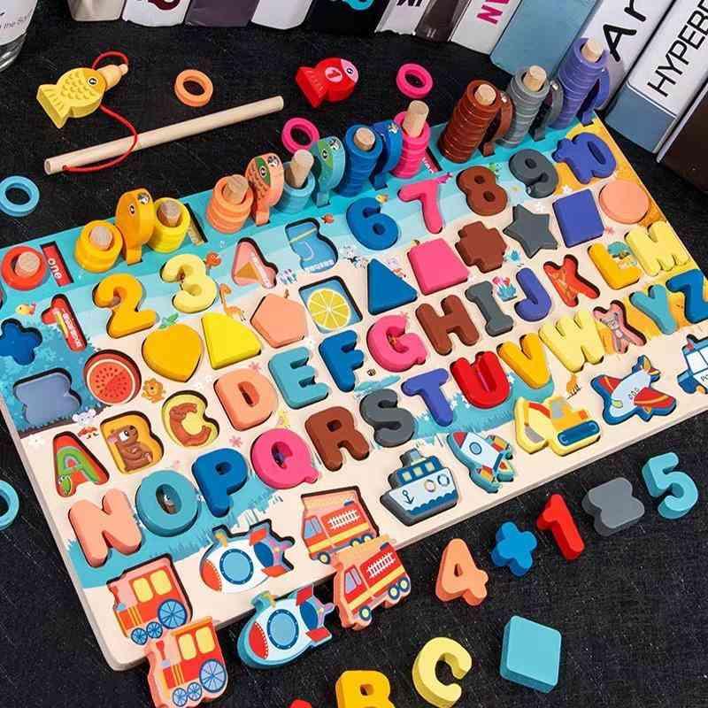 Montessori Educational, Wooden Board Digital Shape, Match Toy