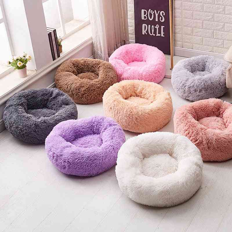 Round Soft Warm Long Plush Pet Bed