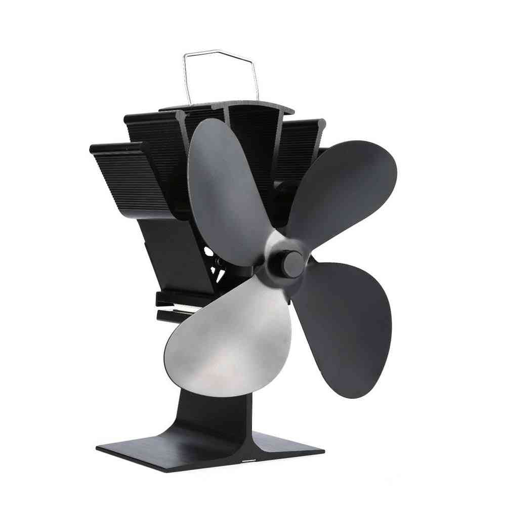 Thermal Power Fireplace Fan, Heat Powered, Wood Stove For Log Burner, Eco Friendly, Four-leaf Fans