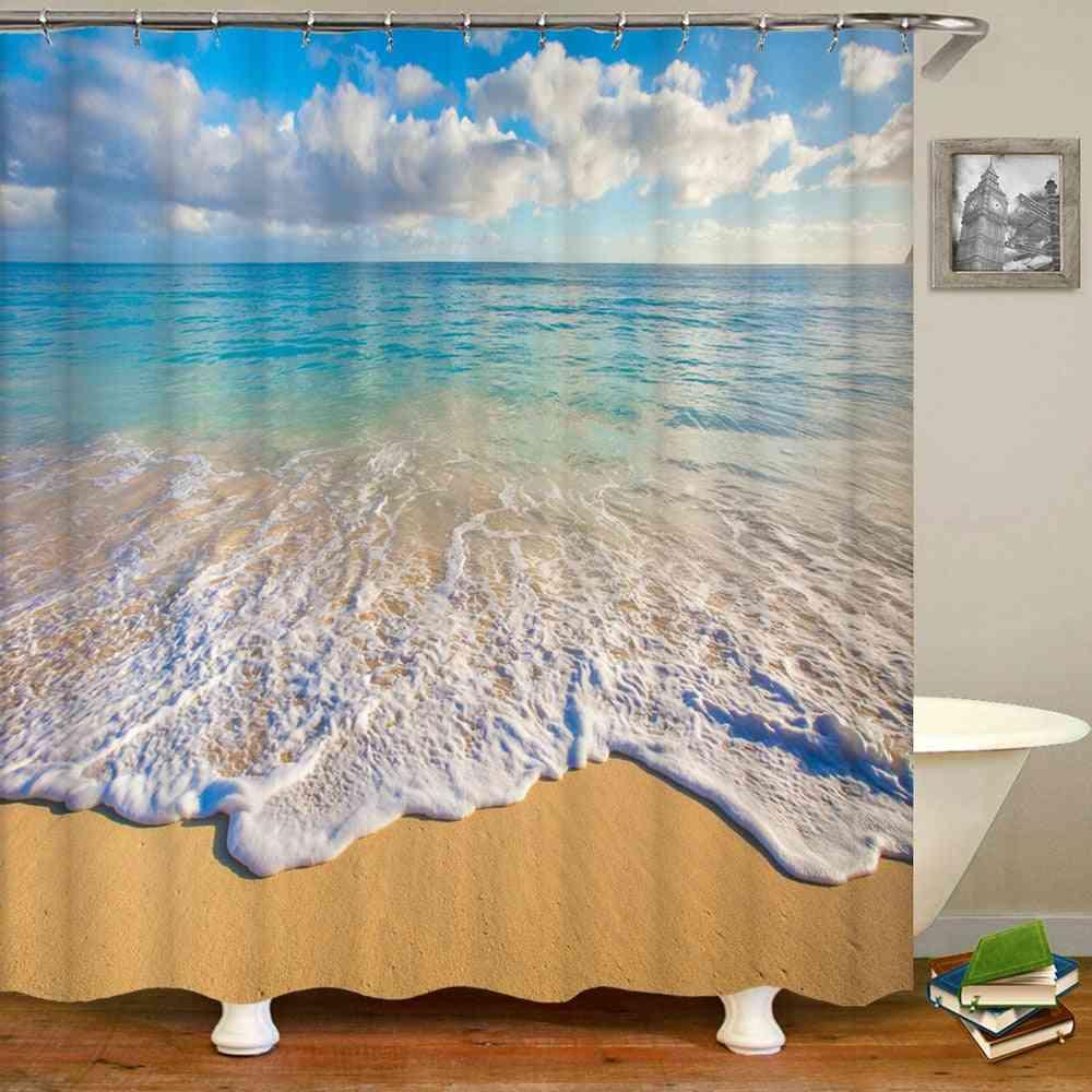 Sea Beach Scenery Shower Curtains, Printing Bathroom Waterproof Polyester Cloth Bath Screen