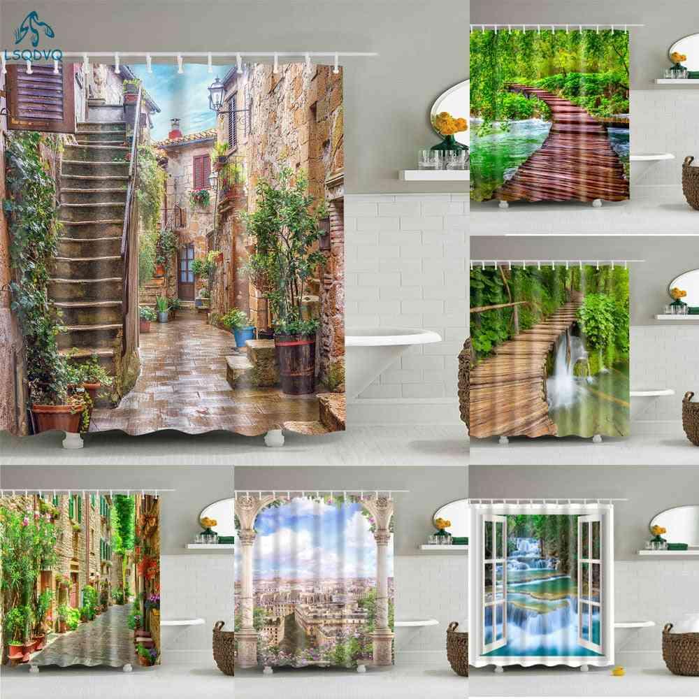 Garden Flower Plant, Creek Shower, Bathroom Curtains With Hooks Set-3