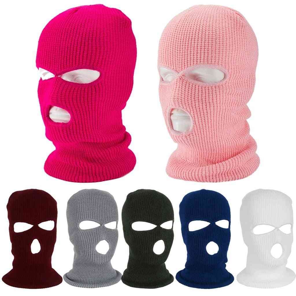 Winter Warm Three Hole Balaclava Knit Hat, Cycling Scarf Full Face Cover Mask