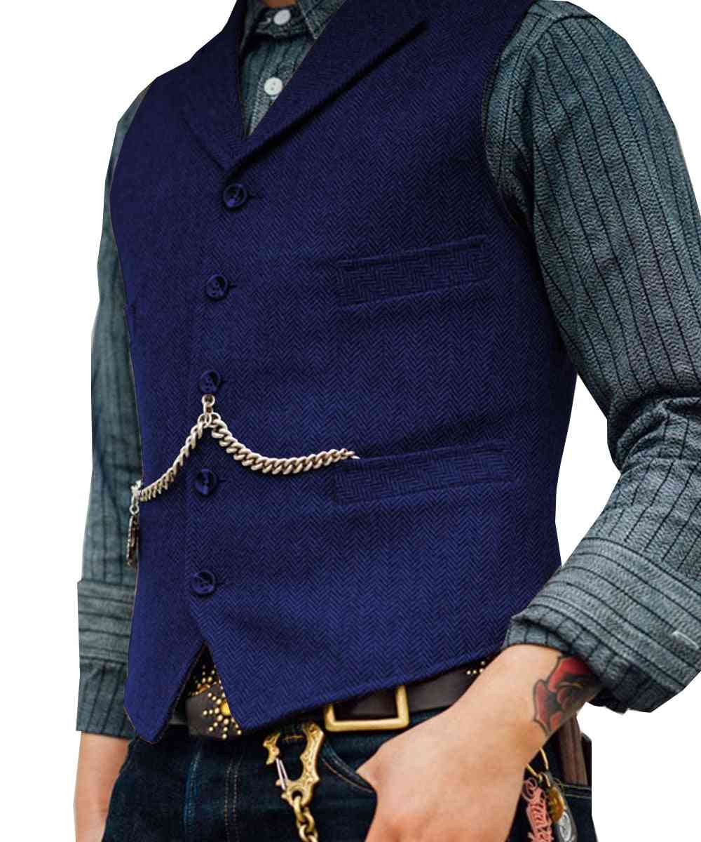Men's Suit Vest Boutique, Wool Tweed, Slim Fit Leisure Cotton Business Waistcoat