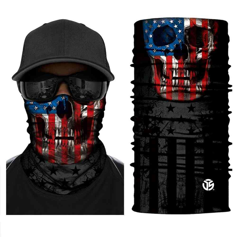3d Ghost Skull Bandana Neck Gaiter Head Shield Summer Tube Balaclava Scarves
