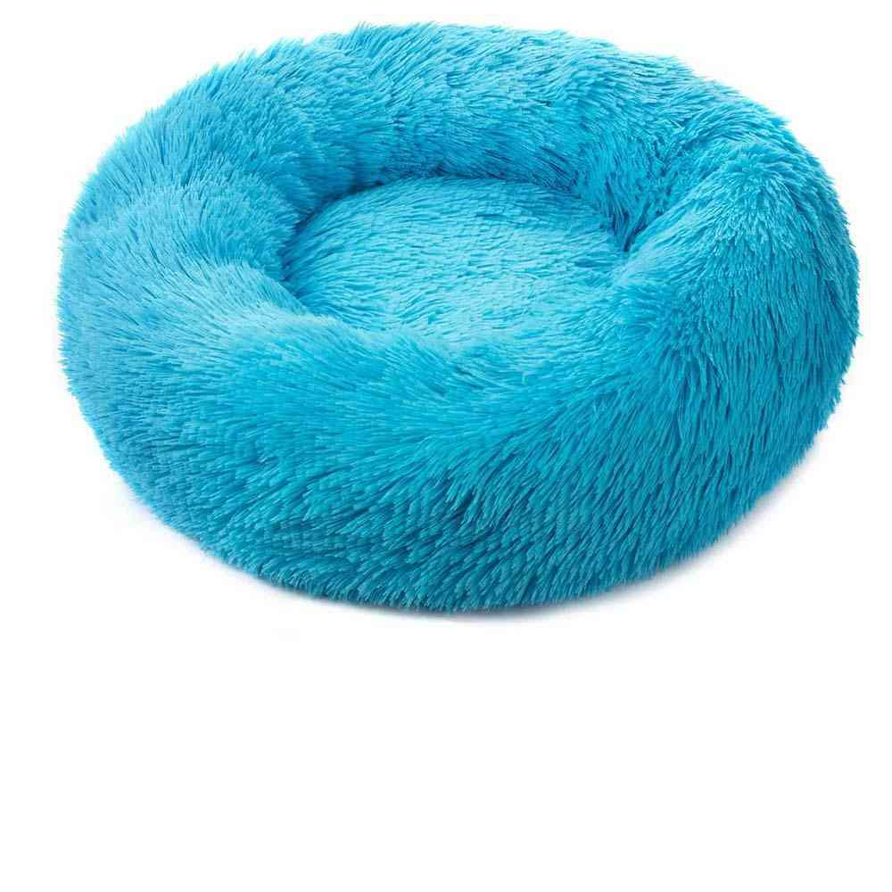 Round Soft Long Plush Cat Mat, Winter Warm Sleep Zipper Washable Bed
