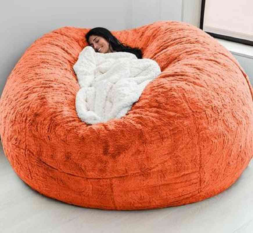 Soft Bean Bag Sofa Cover, Party Leisure Giant Big Round Fluffy Faux Cushion Bed