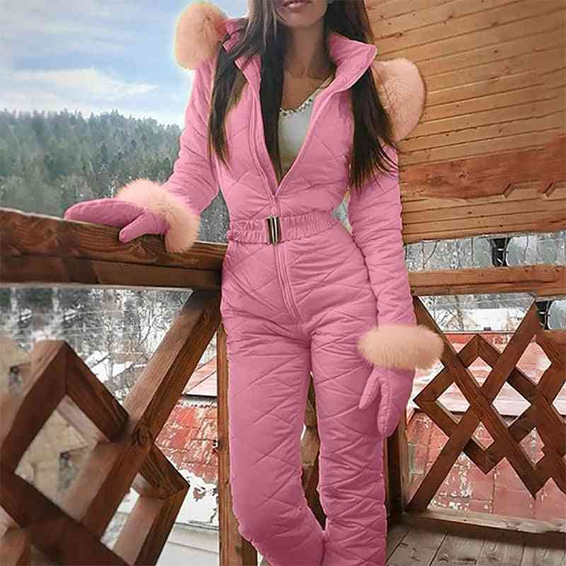 Women Fashion One Piece Jumpsuit Casual Thick Winter Warm Snowboard Skisuit Outdoor Sports Skiing Pant Sets Zipper